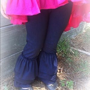 Cotton Denim Ruffled Pants